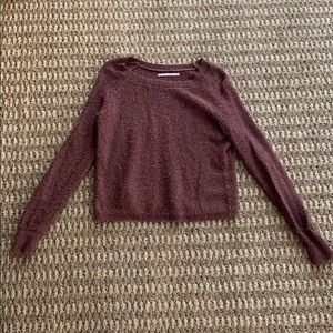 Wine-colored cropped sweater